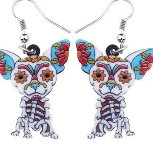 NEW Dog Lover Earrings Day Dead Skelton Ha…